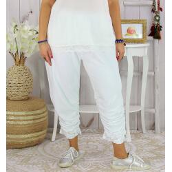 Pantalon legging dentelle grande taille été VENTURA blanc Legging femme