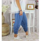 Pantalon legging dentelle grande taille été VENTURA bleu jean Legging femme