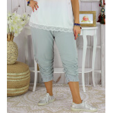 Pantalon legging dentelle grande taille été VENTURA gris clair Legging femme