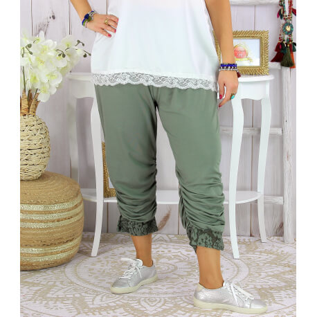 Pantalon legging dentelle grande taille été VENTURA kaki clair Legging femme