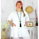 Tunique longue coton femme grande taille CALICO blanche Tunique femme grande taille