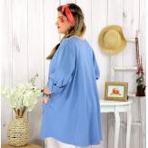 Tunique longue coton femme grande taille CALICO bleu jean Tunique femme grande taille