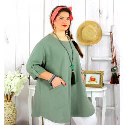 Tunique longue coton femme grande taille CALICO kaki Tunique femme grande taille
