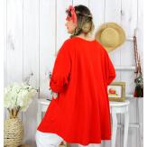 Tunique longue coton femme grande taille CALICO rouge Tunique femme grande taille