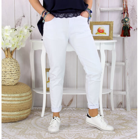 Pantalon slim femme grande taille stretch SONG blanc Pantalon femme grande taille