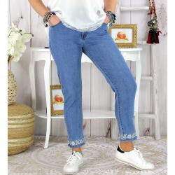 Jean slim femme grande taille stretch SONG broderies argent Pantalon femme grande taille