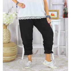 Pantalon legging femme grande taille été LUNI noir Legging femme