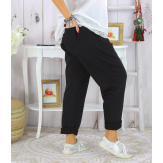 Pantalon jogg femme grande taille stretch SPORTY noir Pantalon femme grande taille