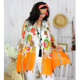 Foulard écharpe pompons été orange FOU2541 Foulard femme