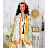 Foulard écharpe pompons été orange FOU2540 Foulard femme