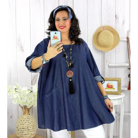Tunique longue femme grande taille jean lyocell BARTH Tunique femme grande taille