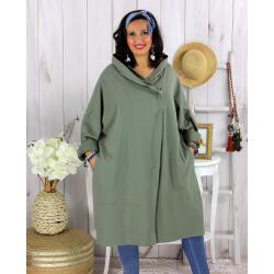 Veste longue capuche sweat femme grande taille EBONY kaki Veste femme grande taille