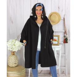 Veste longue capuche sweat femme grande taille EBONY noire Veste femme grande taille