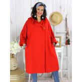 Veste longue capuche sweat femme grande taille EBONY rouge Veste femme grande taille