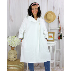 Veste longue capuche sweat femme grande taille EBONY blanche Veste femme grande taille