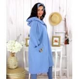 Veste longue capuche sweat femme grande taille EBONY bleu mer Veste femme grande taille