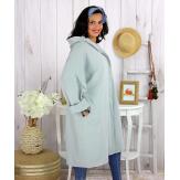 Veste longue capuche sweat femme grande taille EBONY gris clair Veste femme grande taille