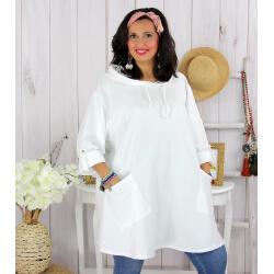 Tunique longue capuche sweat grande taille TAVOLO blanche Tunique femme grande taille