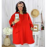 Tunique longue capuche sweat grande taille TAVOLO rouge Tunique femme grande taille