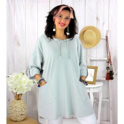 Tunique longue capuche sweat grande taille TAVOLO gris Tunique femme grande taille
