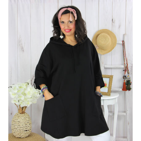 Tunique longue capuche sweat grande taille TAVOLO noire Tunique femme grande taille