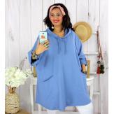 Tunique longue capuche sweat grande taille TAVOLO bleu mer Tunique femme grande taille