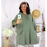 Tunique longue capuche sweat grande taille TAVOLO kaki Tunique femme grande taille