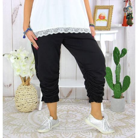 Pantalon legging dentelle grande taille été VENTURA noir Legging femme