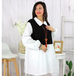 Tunique longue bicolore grande taille DELUX blanc noir Tunique longue femme