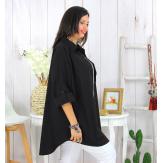 Chemise longue femme grande taille ORSAY noire Chemise femme grande taille