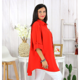 Chemise longue femme grande taille ORSAY rouge Chemise femme grande taille