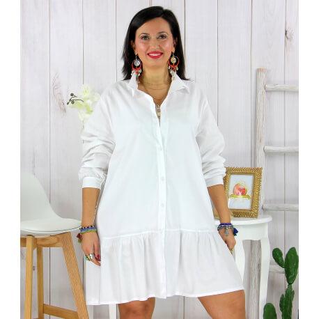 Chemise robe coton volantée femme grande taille PRELUDE blanche Chemise femme grande taille