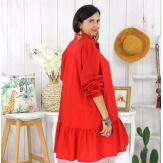 Chemise robe coton volantée femme grande taille PRELUDE rouge Chemise femme grande taille