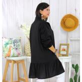Chemise robe coton volantée femme grande taille PRELUDE noire Chemise femme grande taille