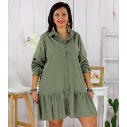 Chemise robe coton volantée femme grande taille PRELUDE kaki Chemise femme grande taille