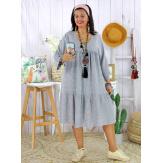 Robe bohème été femme grande taille SQUADRA grise Robe été grande taille
