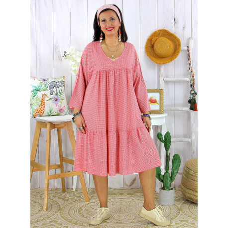 Robe bohème été femme grande taille SQUADRA Framboise Robe été grande taille