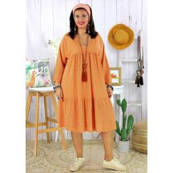 Robe bohème été femme grande taille SQUADRA orange Robe été grande taille