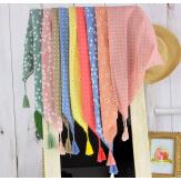Foulard carré bandana pompons coton imprimé 273 vert Accessoires mode femme