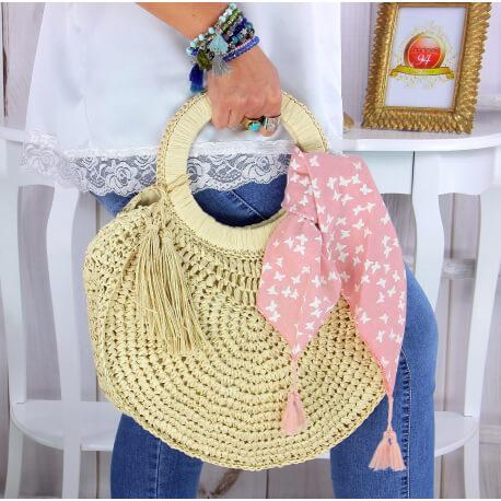 Foulard carré bandana pompons coton imprimé 273 rose Accessoires mode femme