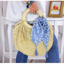 Foulard carré bandana pompons coton imprimé 273 bleu Accessoires mode femme