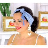 Foulard carré bandana pompons coton imprimé 275 bleu Accessoires mode femme