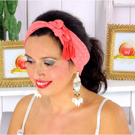 Foulard carré bandana pompons coton imprimé 275 corail Accessoires mode femme