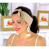 Foulard carré bandana pompons coton imprimé 275 camel Accessoires mode femme