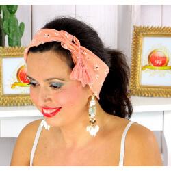 Foulard carré bandana pompons coton imprimé 272 rose Accessoires mode femme
