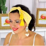 Foulard carré bandana pompons coton imprimé 272 jaune Accessoires mode femme