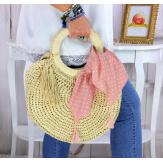 Foulard carré bandana pompons coton imprimé 274 rose Accessoires mode femme