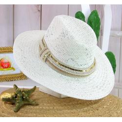 Chapeau de paille et perles bijoux femme HB66 blanc Chapeau paille femme été