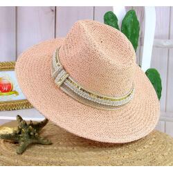 Chapeau de paille et perles bijoux femme HB66 rose Chapeau paille femme été