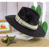 Chapeau de paille et perles bijoux femme HB66 noir Chapeau paille femme été